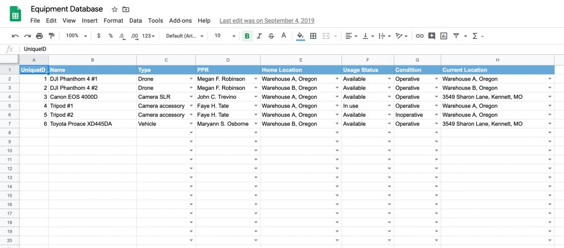 Free Equipment Inventory Tracking Spreadsheet Template Itefy
