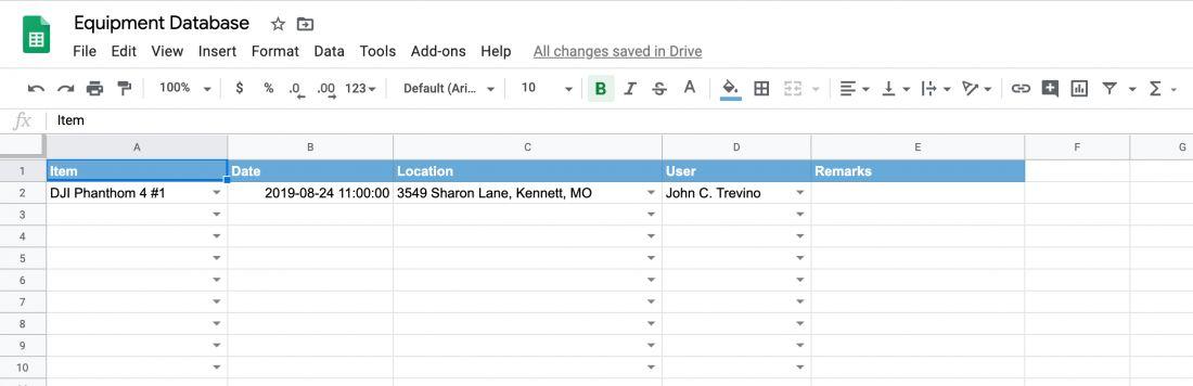 Equipment location movement location track log