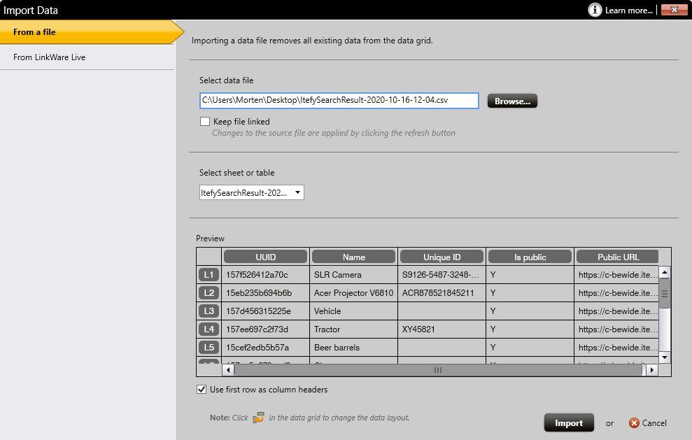 DYMO ID data import window