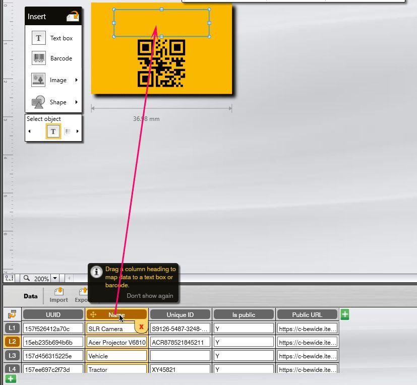DYMO ID drag data to label