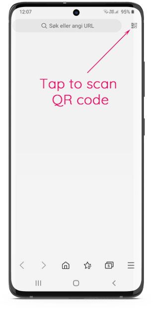 Scan QR code with a smartphone browser