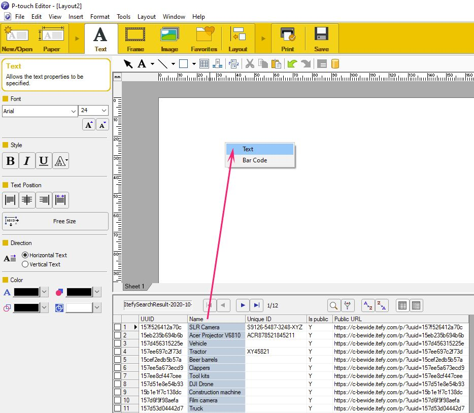 Brother P-touch Editor import text from data file to label