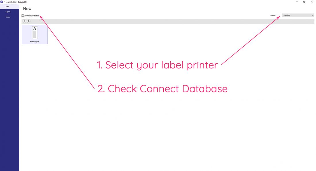 Brother P-touch Editor label printer software initial screen
