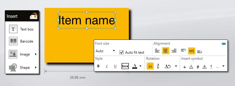 Add text in DYMO ID label maker software